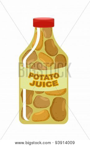 Potato juice. Juice from fresh vegetables. Potatoes in a transparent bottle. Vitamin drink for healt