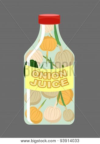 Onion juice. Juice from fresh vegetables. Onions in a transparent bottle. Vitamin drink for healthy