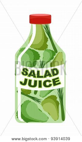 AlaskaSalad juice. Juice from fresh vegetables. Lettuce in a transparent bottle.