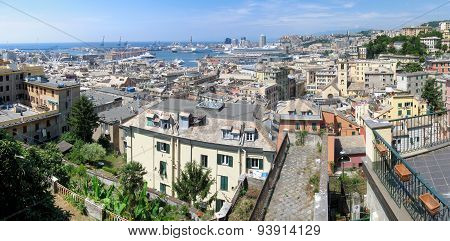 Aerial panorama of Genoa, Italy