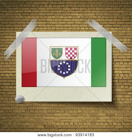 Flags Bosnia And Herzegovina Federation At Frame On A Brick Background. Vector