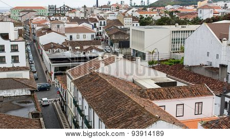 PONTA DELGADA, AZORES/PORTUGAL - JUN 15, 2015: Top view of center of Ponta Delgada. City is located on Sao Miguel Island (232.99 km2) Region capital under the revised constitution of 1976.