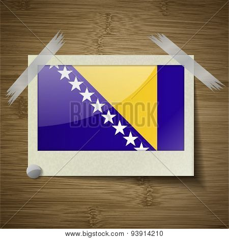 Flags Of Bosnia And Herzegovina At Frame On Wooden Texture. Vector