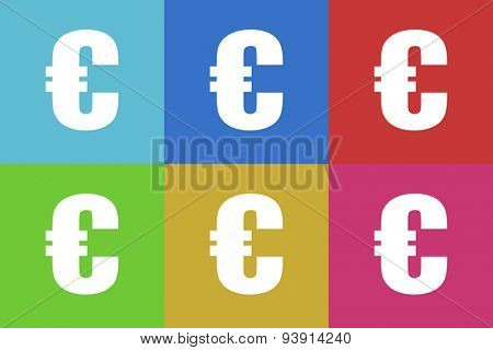 euro flat design modern vector icons set for web and mobile app