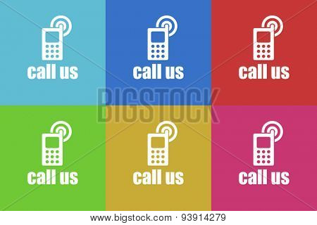call us flat design modern vector icons set for web and mobile app