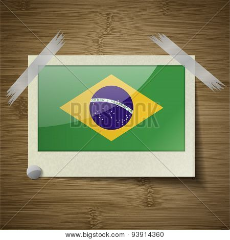 Flags Brazil At Frame On Wooden Texture. Vector