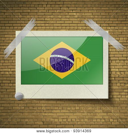 Flags Brazil At Frame On A Brick Background. Vector