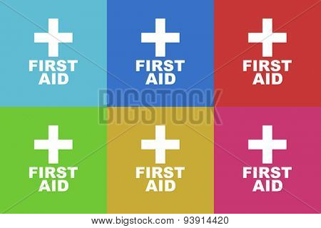 first aid flat design modern vector icons set for web and mobile app