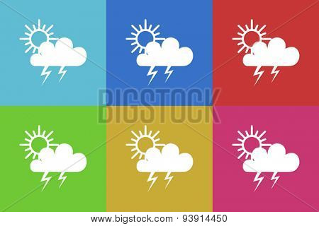 storm flat design modern vector icons set for web and mobile app