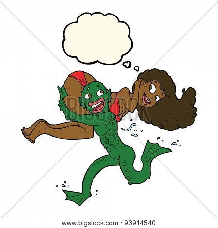 cartoon swamp monster carrying girl in bikini with thought bubble