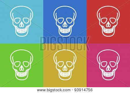 skull flat design modern vector icons set for web and mobile app