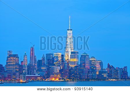 New York City skyline of financial business buildings