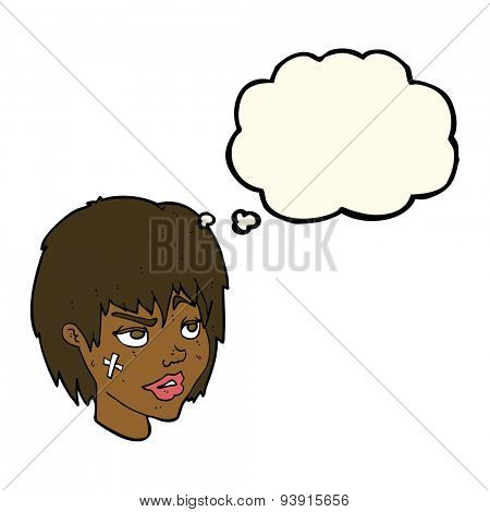 cartoon woman with plaster on face with thought bubble