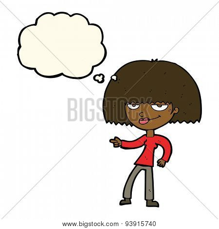 cartoon happy woman pointing with thought bubble