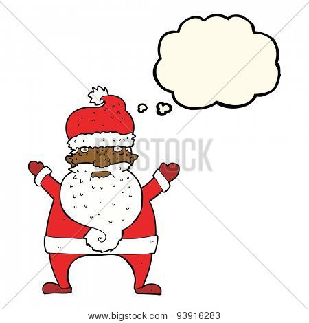 cartoon ugly santa claus with thought bubble