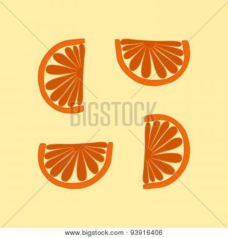Simple orange cartoon stylized tileable mandarin pattern