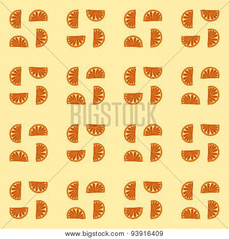 Fine orange monochromatic mandarin cartoon pattern