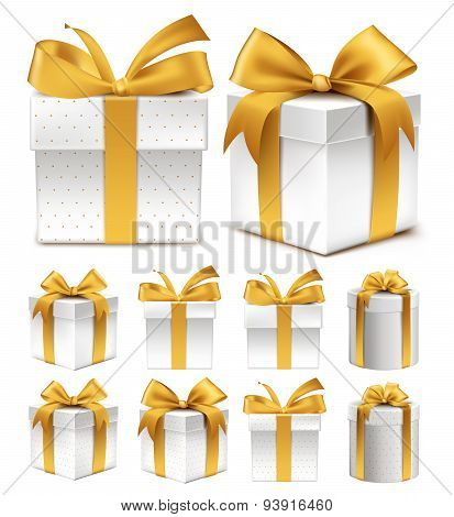 Collection Realistic of Colorful Gold Pattern Gift Box