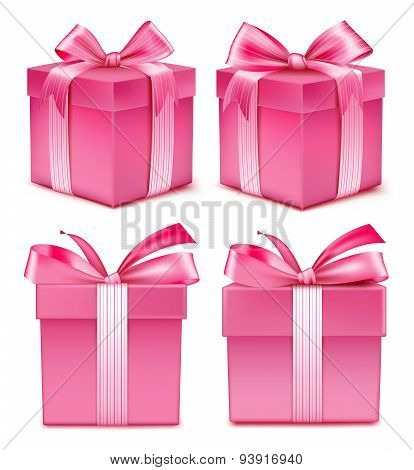 Collection of Realistic Colorful Pink Pattern Gift Box