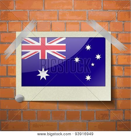 Flags Australia Scotch Taped To A Red Brick Wall
