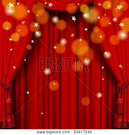 Red curtain background  with rain of stars. Vector Illustration