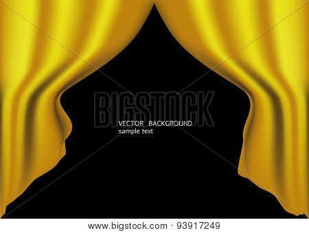 Gold  curtains background. vector illustration