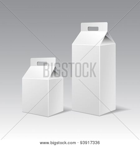 Two White Cardboard Gift Rectangular Boxes Different Height With Handle.