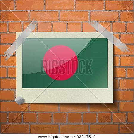 Flags Bangladesh Scotch Taped To A Red Brick Wall