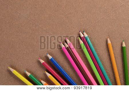 Color Pencils On A Board