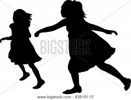 two running children vector