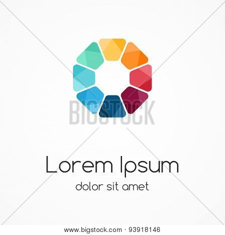 Logo template. Modern vector abstract circle creative sign or symbol. Design geometric element