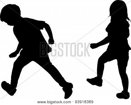 two running children on white background vector