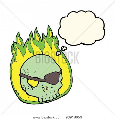 cartoon skull with eye patch with thought bubble