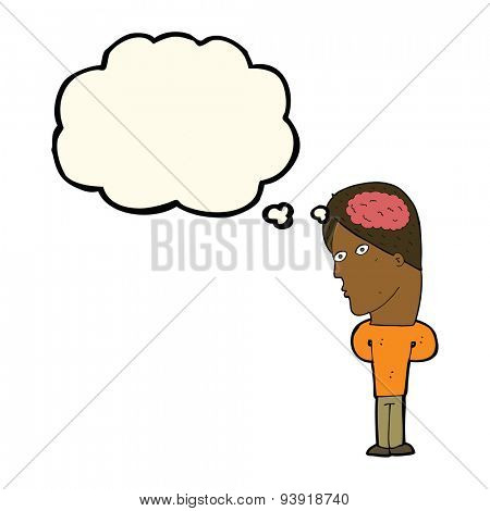 cartoon man with big brain with thought bubble