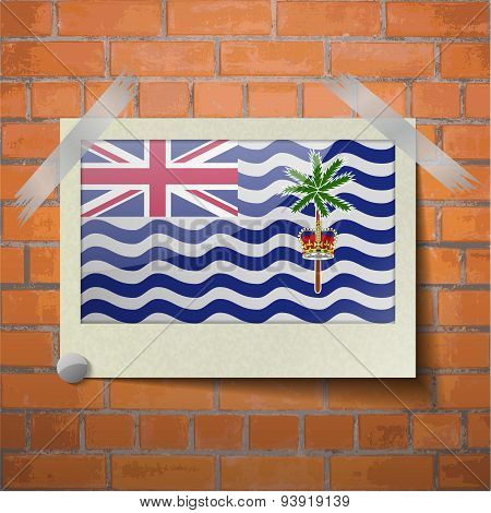 Flags British Indian Ocean Territory Scotch Taped To A Red Brick Wall
