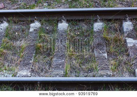 Close up of railway tracks. Horizontal photo