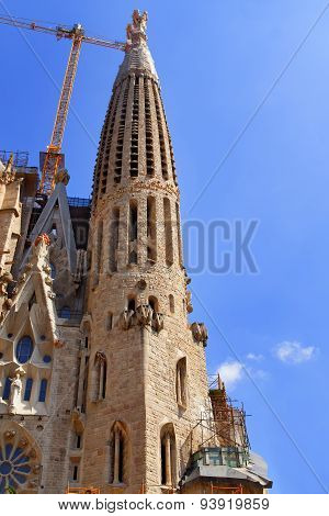 Tower Of The Sagrada Familia Cathedral In Barcelona