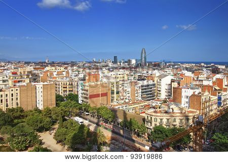 View To Barcelona City Center From Sagrada Familia Cathedral