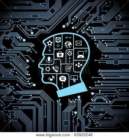 The man's head with puzzles and icons on the background of abstract motherboard. 