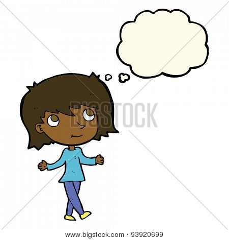 cartoon girl with no worries with thought bubble