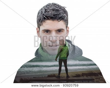 Double Exposure Portrait Of A Runner