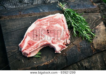 Raw meat on a table