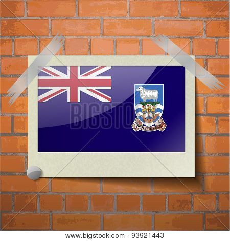Flags Falkland Islands Scotch Taped To A Red Brick Wall