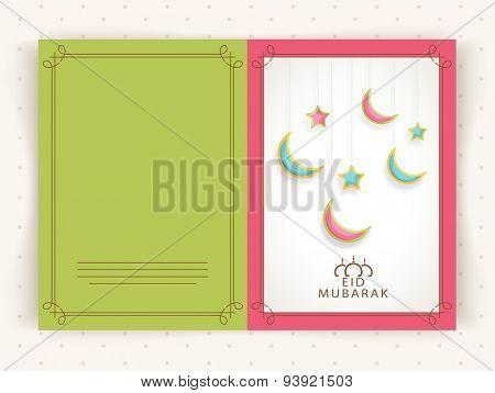 Elegant greeting card design decorated with shiny hanging crescent moons and stars for Muslim community festival, Eid Mubarak celebration.