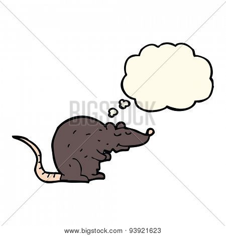 cartoon black rat with thought bubble