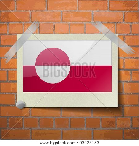 Flags Greenland Scotch Taped To A Red Brick Wall