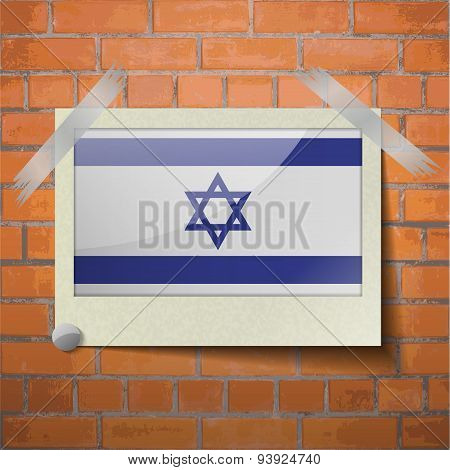 Flags Israel Scotch Taped To A Red Brick Wall