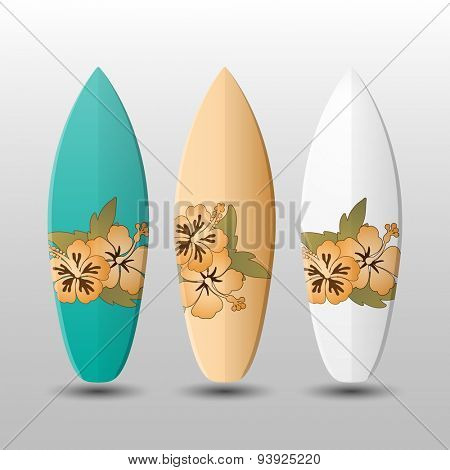 Surfboards Design Template with Flowery Pattern
