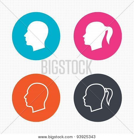Head icons. Male and female human symbols.