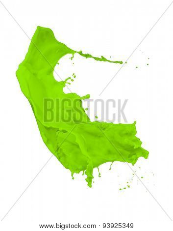 green paint splash isolated on white background